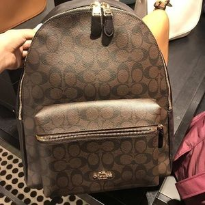 Coach large size brown logo signature backpack